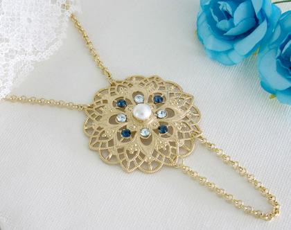 שרשרת זהב ארוכה לאישה, מתנה לאישהליום הולדת, שרשרת כחולה ארוכה