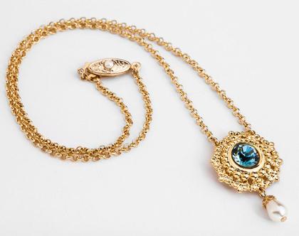 שרשרת זהב עם תליון לאישה, שרשרת כחולה, שרשרת עם תליון עדין