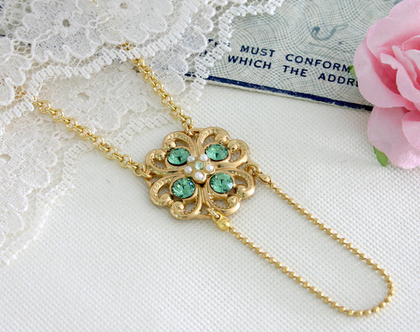 שרשרת ירוקה עדינה מתנה לחברה, שרשרת זהב
