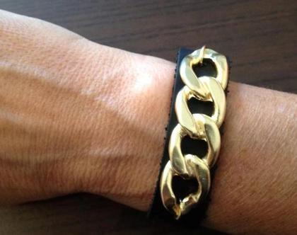 צמיד עור זהב - צמיד לאישה - צמידים - צמידי עור