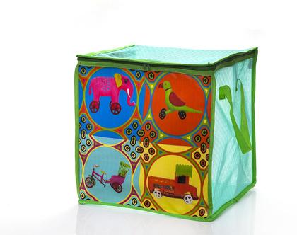 קופסת אחסון,קופסה לצעצועים ומשחקים,סל מרשת,איחסון לחדרילדים,קופסה לתחפושות ,עיצוב רטרו