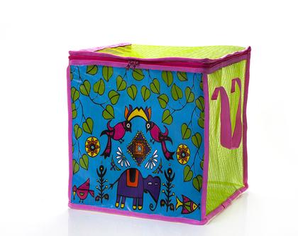 קופסת אחסון מרשת צבעונית לאחסון משחקים-קופסה מתקפלת,עיצוב טרופי