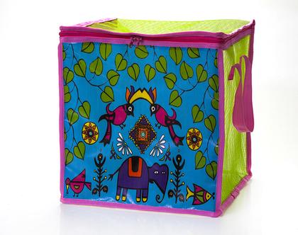 קופסת אחסון,קופסה מרשת צבעונית לאחסון משחקים-קופסה מתקפלת,עיצוב טרופי