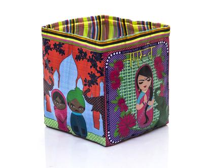 קופסת אחסון צבעונית,קופסה מתקפלת,קופסה לחדרי ילדים-עיצוב אתני