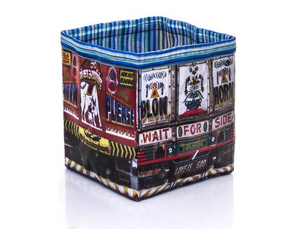 קופסת אחסון,קופסה לאחסון מגזינים,קופסה לצעצועים,קופסה מתקפלת-מתנה מקורית-משאית