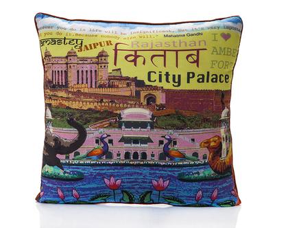 כרית נוי -כרית בעיצוב אתני-כרית מעוצבת-כרית לסלון-כיסוי כרית-ג'איפור-הודו