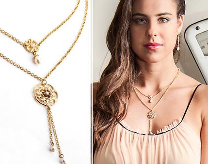 שרשרת זהב כפולה בשילוב קריסטלים ופנינה בסגנון תחרה