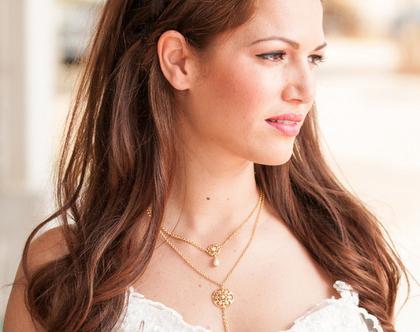 שרשרת זהב לכלה, שרשרת לשמלת כלה, שרשרת זהב כפולה, מתנה לחתונה