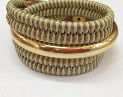 צמיד צמה מלופף עם חישוק זהב