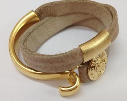 צמיד עור מלופף עם חישוק זהב - צמיד עבודת יד