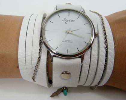 שעון רצועות עור מתלפף לבן