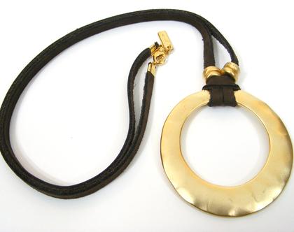 שרשרת עור וטבעת זהב