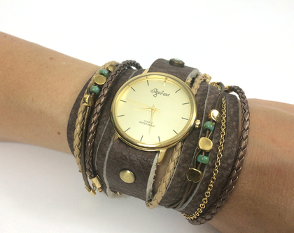שעון רצועות עור מתלפף מתוכשט