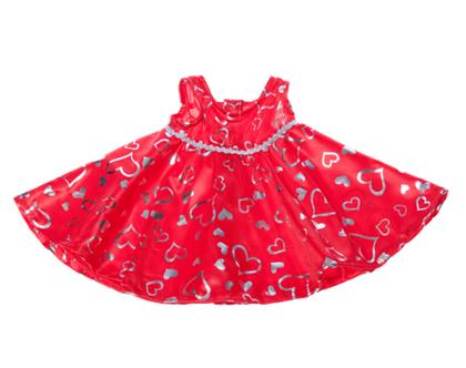 """בגדי בובה שמלה אדום/כסף לבובה 40 ס""""מ"""