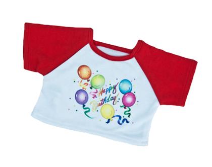 """בגדי בובה חולצת יום הולדת אדומה 40 ס""""מ"""
