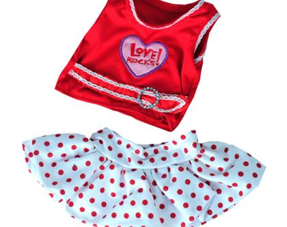 """בגדי בובה שמלת """"love rocks"""" לבובה 40 ס""""מ"""