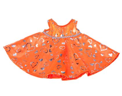 """בגדי בובה שמלה כתום/כסף לבובה 40 ס""""מ"""