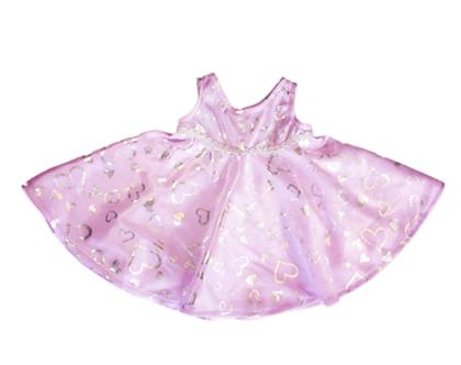 """בגדי בובה שמלה סגולה/כסופה לבובה 40 ס""""מ"""