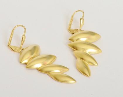 עגילי ליביה זהב -עגילים נתלים רטרו'- בציפוי זהב