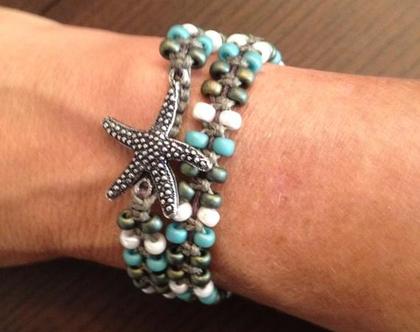 צמיד כוכב ים - צמיד חרוזים - צמיד עבודת יד