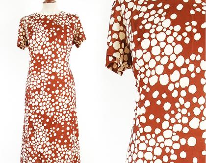 שמלת וינטג' חומה סיקסטיז מידה L