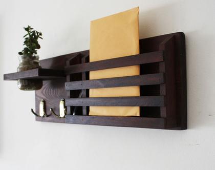 מתלה מפתחות מעוצב דגם ״ענבל״ -עץ ממוחזר-גוון 601, מתלה לדואר, אירגונית לדואר, לכניסה לבית.