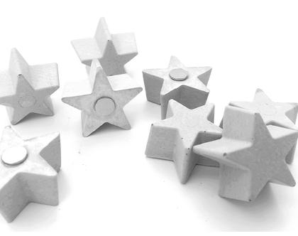 מגנט כוכב מבטון | 4 יח' | מגנט מיוחד למקרר | מגנט מקורי למקרר | מגנט ללוח במשרד