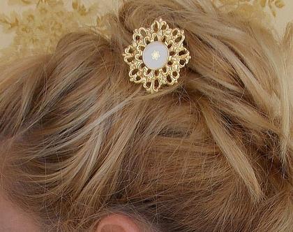 קילשון לשיער זהב פרח - תכשיט שיער - סיכה לכלה