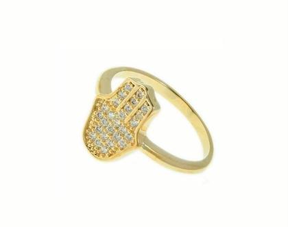 טבעת חמסה גולדפילד משובצת זרקונים - טבעת כסף