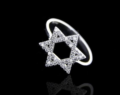 טבעת מגן דויד משובץ זרקונים - טבעת משובצת