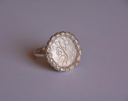 טבעת כסף, טבעת מטבע עתיק, טבעת מטבע, טבעת כסף, טבעת מתנה לאישה, משלוח חינם, טבעת מטבע עתיק וחרוזי כסף, טבעת חותם מטבע