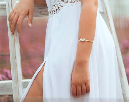 """צמיד לכלה /לחתונה, צמיד לאירוע, צמיד סברובסקי, צמיד זהב """"מרלין"""""""