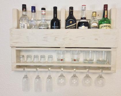 בר אלכוהול מעוצב ממשטח- דגם״ רפאל״ ממוחזר קרם ווש