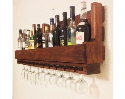 בר אלכוהול מעוצב -עץ ממוחזר 120 אורך דגם ״אריק״, בר משקאות, מדף למשקאות, דיספליי משקאות, עיצוב המשרד, מתנה לגבר, בר ויסקי, מדף לויסקי.