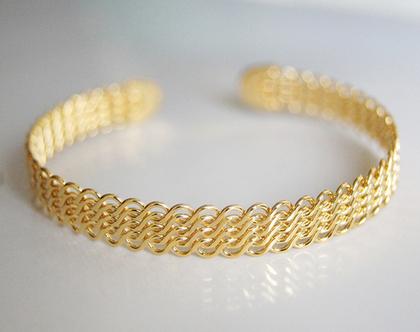 צמיד זהב עדין לאישה | צמיד עדין מעוצב 15% הנחה | צמיד ציפוי זהב 24K