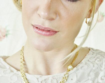 שרשרת לכלה מרילין -שרשרת גורמט זהב עם סוגר פנינה
