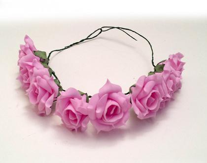 זר לראש | משי | זר פרחים | עיטור ראש | כתר | חגיגה| יום הולדת | חתונה | רווקות | קישוט | ורדים ורודים | צילומי בוק | פרום | מלאכותי