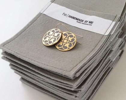 עגילים תלויים במילוי בטון | עגילי זהב עגולים