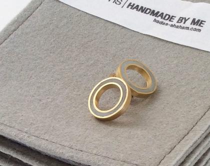 עגילים עיגול חלול במילוי בטון | עגילי זהב עגולים
