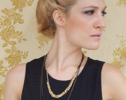 קילשון לשיער ציפוי זהב עם פורטרט אישה בסגנון עתיק
