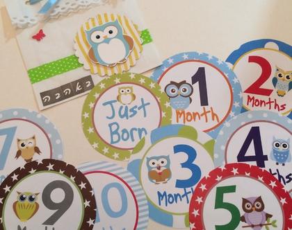מדבקות לחודשי הילד מגיל 0- 12 חודשים