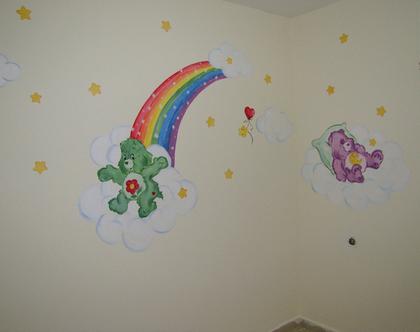 ציור קיר דובוני אכפת לי לתינוק/ תינוקת