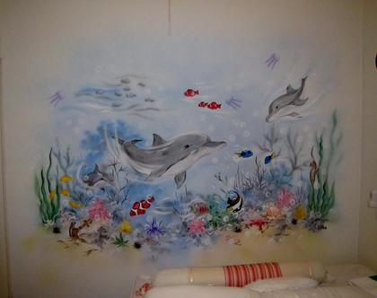 ציור קיר ים ודולפינים