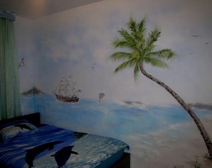 ציור קיר נוף ים