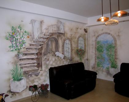 ציור קיר אווירת רחוב בעיר העתיקה