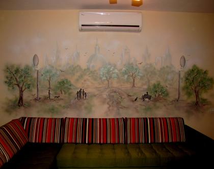 ציור קיר פארק בגוונים של חום - ירוק