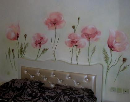 ציור קיר פרחים ורודים