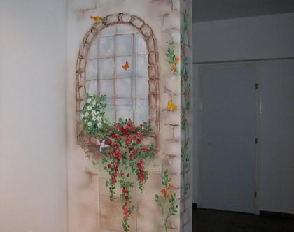 ציור קיר חלון חיצוני