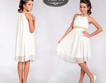 שמלת שרוך לבת מצווה בצבע שמנת בעיצוב שירן סבוראי