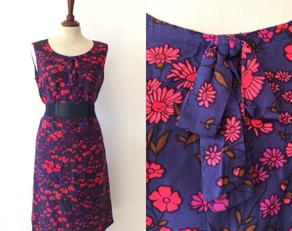 שמלה פרחונית |שמלת וינטג' |שמלת מידי | שמלה כחולה| שמלה קיצית | שמלה לנשים
